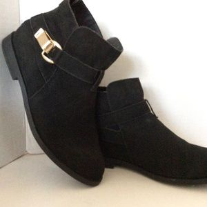 Sugar Sude Black Ankle Boots Size 8M